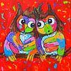 Owls in love sur Vrolijk Schilderij Aperçu