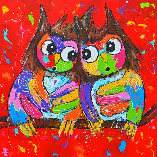 Owls in love sur Vrolijk Schilderij