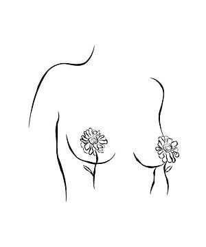 Mit Blumen bedeckte Brüste von Anne Schutte