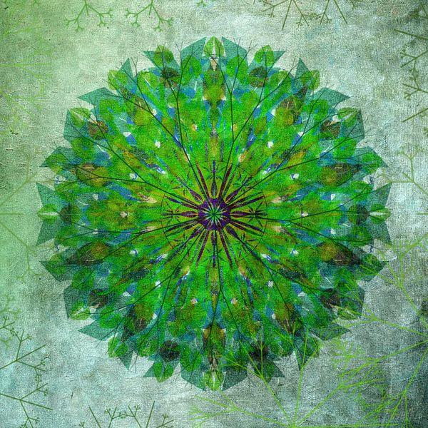 Mandala - grunge in green van Rietje Bulthuis