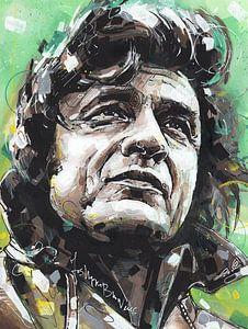 Johnny Cash schilderij. van Jos Hoppenbrouwers