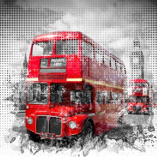 Graphic Art LONDON WESTMINSTER Red Buses van Melanie Viola