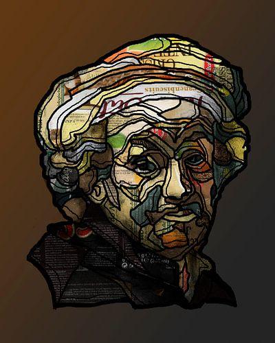 Rembrandt als apostel Paulus in collage van Ruud van Koningsbrugge