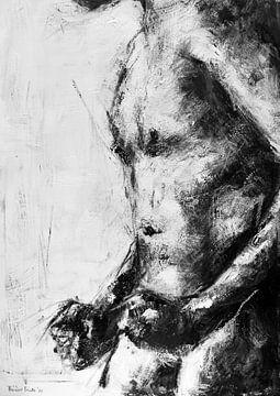 Gemälde eines nackten Mannes mit geballten Fäusten in Schwarz-Weiß. von Therese Brals