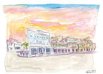 Queen St Front St Szene in Hamilton Bermuda bei Sonnenuntergang von Markus Bleichner