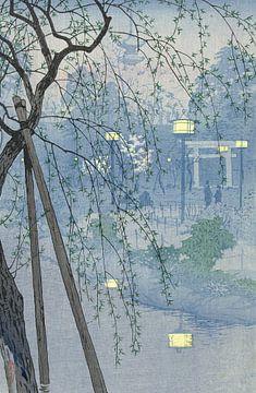 De rand van de Shinobazu vijver tijdens een mistige avond., Kasamatsu Shirô