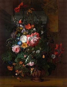 Rozen, winde, klaprozen en andere bloemen in een urn op een stenen richel, Rachel Ruysch van
