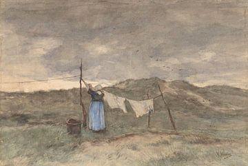 Femme à une corde à linge dans les dunes, Anton Mauve sur