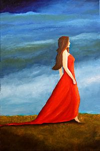 Frau im roten Kleid van