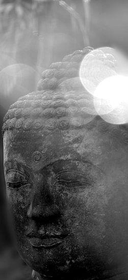 Kopf eines Buddhas in S/W