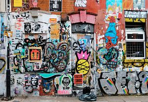 Graffiti muur, Shoreditch, Londen van