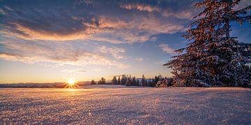 """Berglandschap """"Zonsondergang in de Winter"""" van Coen Weesjes"""