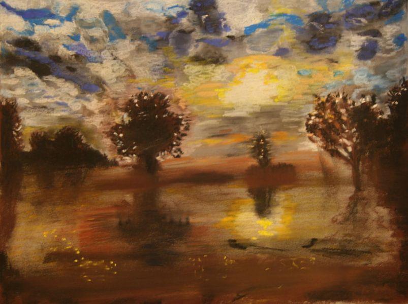 Panorama van de Amstel bij ochtendlicht (The River Amstel, Fluss Amstel, Rivière Amstel) van Catharina Mastenbroek