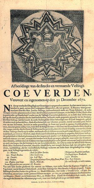 Image de Coevorden avec texte sur la conquête et la prise de la forteresse sur Gert Hilbink
