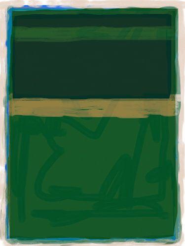 Abstract schilderij in groentinten