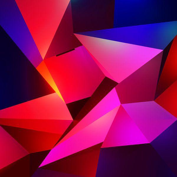 Modern abstract schilderij met uil in de nacht van Pat Bloom - Moderne 3D, abstracte kubistische en futurisme kunst