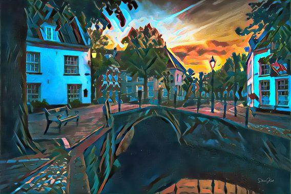 Kleurrijk schilderij Amersfoort: Heksenbrug in de avond