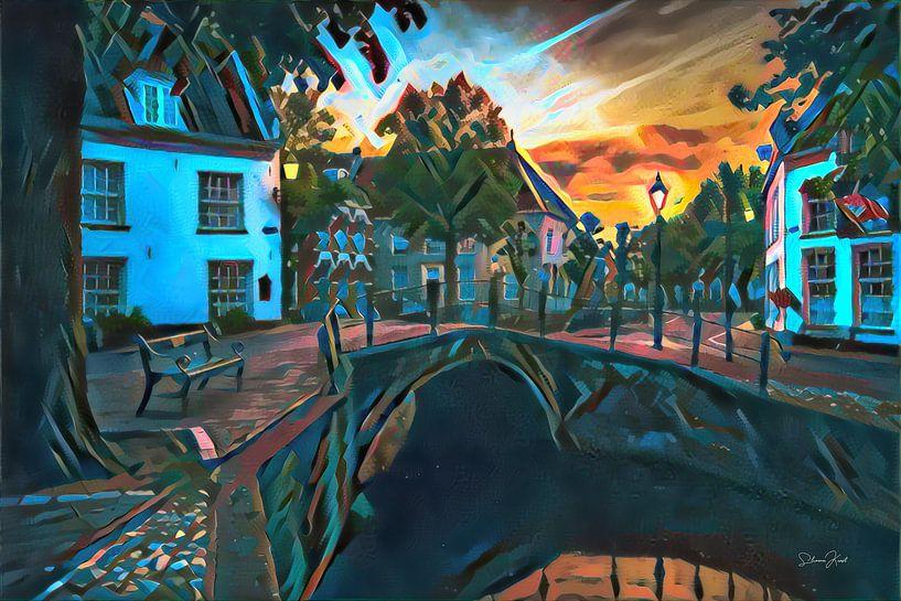 Kleurrijk schilderij Amersfoort: Heksenbrug in de avond van Slimme Kunst.nl