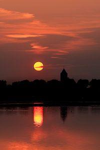 Zalk bij zonsondergang