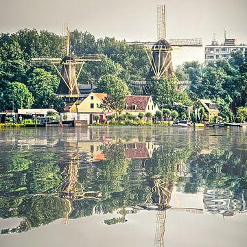 Réflexion de l'eau Moulins de Kralingen Rotterdam