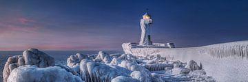 Leuchtturm Sassnitz auf der Insel Rügen im tiefen Winter von Voss Fine Art Photography