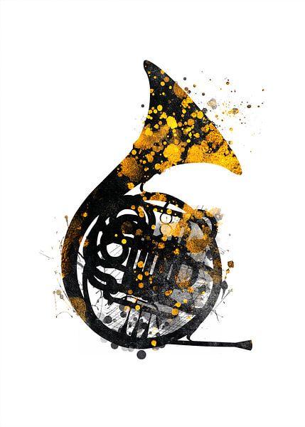 franse hoorn 1 muziekkunst #frenchhorn #muziek van JBJart Justyna Jaszke