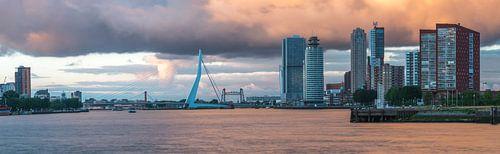 Panoramafoto van Rotterdam met Erasmusbrug en Wilhelminakade van
