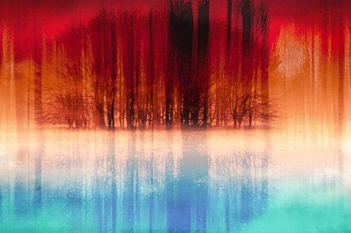 Abstracte reflectie van een groep bomen