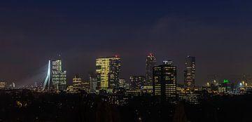 Skyline Rotterdam bei Nacht von Wilco Schippers