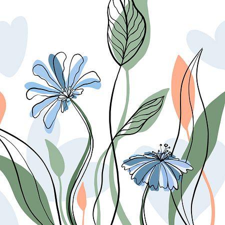 Modern bloemen boeket - minimalistische illustratie van Studio Hinte