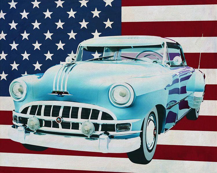 Pontiac Chieftain Hard Top met casket 1950 met vlag van de V.S. van Jan Keteleer