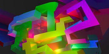 Beeldvullend modern 3D graffiti kunstwerk met de letters 'Tez' van Pat Bloom - Moderne 3d en abstracte kubistiche kunst