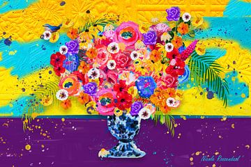 gekleurd bloemen schilderij van Nicole Roozendaal