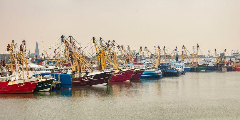 Vissersschepen in de haven van Harlingen van Frans Lemmens