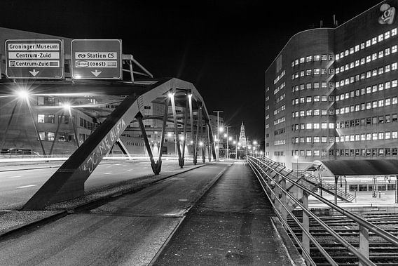 Emmaviaduct Groningen (zwart-wit)