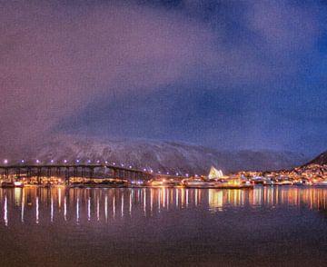 Hafentromso Norwegen bei Nacht von Maurice Dawson