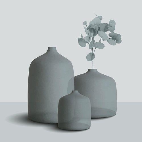 Transparante potten in grijs-tinten