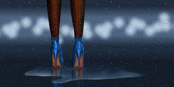 Im Regen stehen 2 in Nachtblau von Monika Jüngling