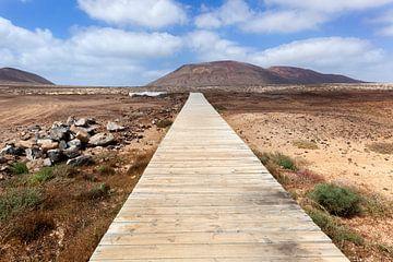 Voetpad van houten planken op het eiland La Graciosa van Lanzarote van Peter de Kievith Fotografie