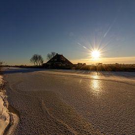 Zonsondergang op het ijs van Jaap Terpstra