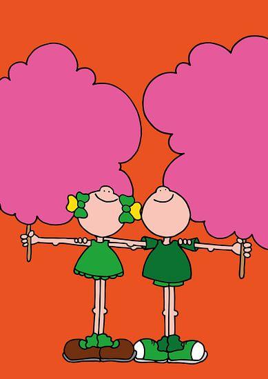 Vriendjes met suikerspinnen - kinderkamer