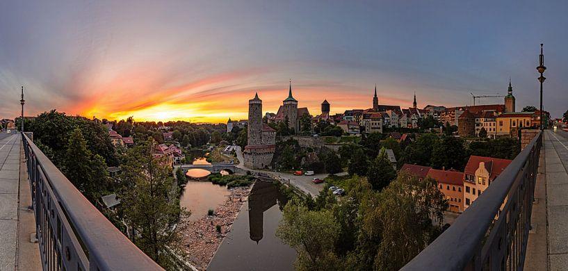 Bautzen - coucher de soleil sur la vieille ville historique sur Frank Herrmann