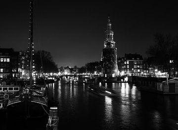 Kanal von Amsterdam bei Nacht von Charlotte Dirkse