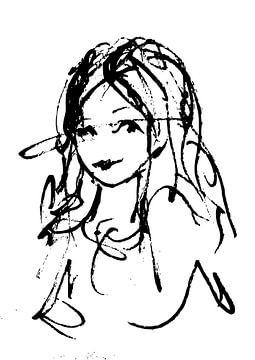 Grobe Tuschestiftzeichnung - Porträt einer Frau von Emiel de Lange