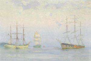 Schifffahrt vor Anker, Carrick Roads, Henry Scott Tuke