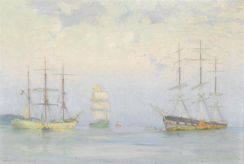 Schifffahrt vor Anker, Carrick Roads, Henry Scott Tuke von Meesterlijcke Meesters