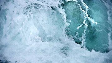 Vloedgolf - Branding - Natuurkracht - Zee - Water - Stortende Golf - Spetters - Schilderij