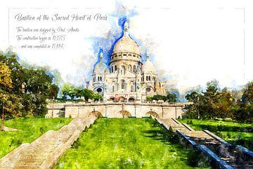 Sacré-Cœur de Montmartre, Aquarel, Parijs van Theodor Decker