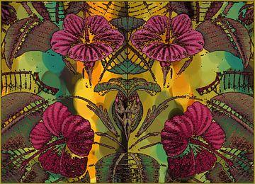 Hibiscus fleur et feuille sur