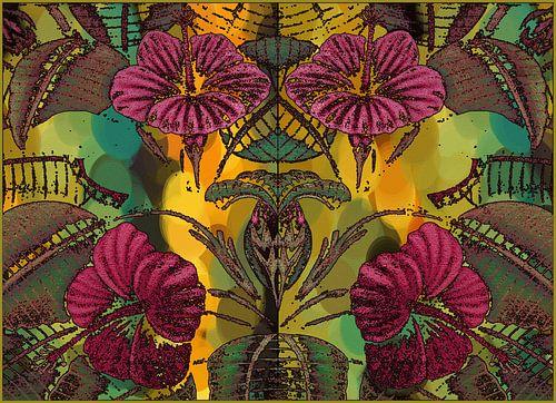 HIBISCUS bloemen en blad van